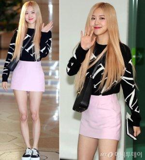 블랙핑크 로제, 상큼한 핑크빛 공항패션…미소 '활짝'