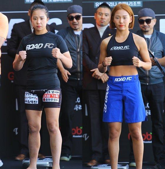 이은정(왼쪽)과 박지수. /사진=로드 FC