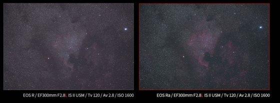 EOS R(왼쪽)과 EOS Ra 천체 사진 비교.