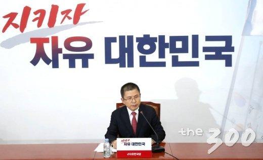 자유한국당 황교안 대표가 6일 오후 서울 여의도 국회에서 열린 기자간담회에서 발언하고 있다. /사진=홍봉진 기자