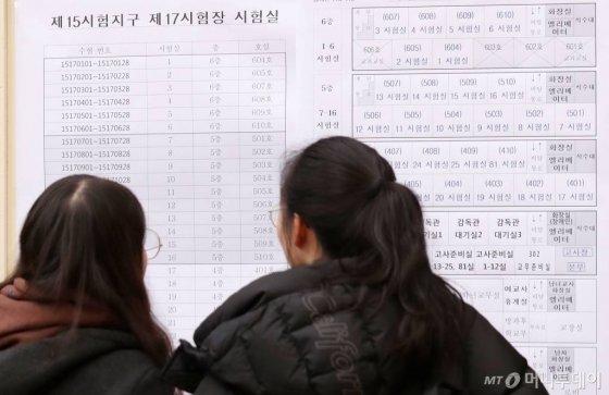 2020학년도 대학수학능력시험 예비소집일인 13일 오전 서울 중구 이화여고를 찾은 수험생들이 시험장을 확인하고 있다./사진=김휘선 기자