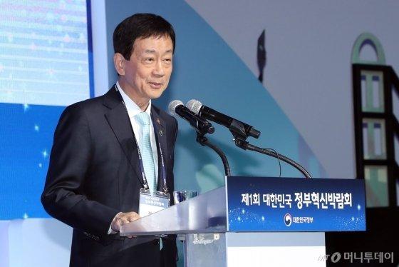 진영 행안부 장관이 22일 DDP에서 열린 정부혁신박람회 개회사를 하고 있다./사진=행안부 제공