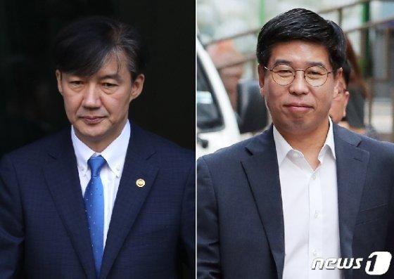 조국 전 법무부장관(왼쪽)과 백원우 민주연구원 부원장. /뉴스1유