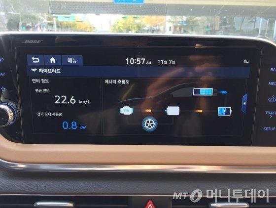 쏘나타 하이브리드 터치 스크린./사진제공=현대차