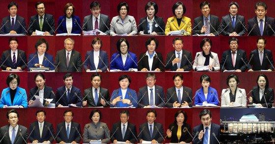 2016년 테러방지법 저지를 위한 필리버스터에 참여했던 38명의 국회의원들./사진=뉴스1