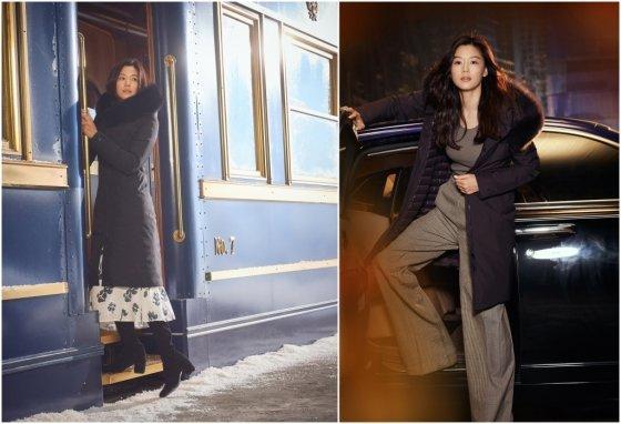 네파 구스코트 '아르테' 블랙(왼쪽) 및 다크와인 컬러 전지현 화보컷/사진제공=네파