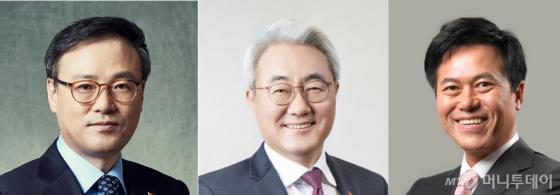 (왼쪽부터) 장동현 SK㈜ 사장, 김준 SK이노베이션 사장, 박정호 SK텔레콤 사장/사진=SK