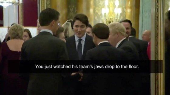 3일(현지시간) 영국 런던에서 열린 북대서양조약기구(NATO 나토) 70주년 기념식에서 쥐스탱 트뤼도 캐나다 총리와 에마뉘엘 마크롱 프랑스 대통령 등 정상 4명이 대화하고 있다/사진=캐나다 CBC 영상 캡쳐