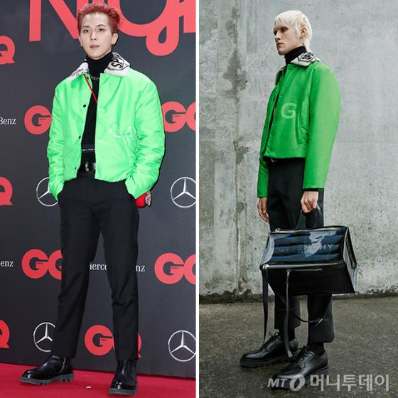 송민호 vs 모델, 빨간 머리에 초록 재킷