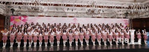 '프로듀스 48'의 출연 연습생들이 11일 오후 서울 강남구 임피리얼팰리스에서 진행된 Mnet '프로듀스 48' 제작발표회에 참석해 포즈를 취하고 있다. / 사진=김휘선 기자 hwijpg@