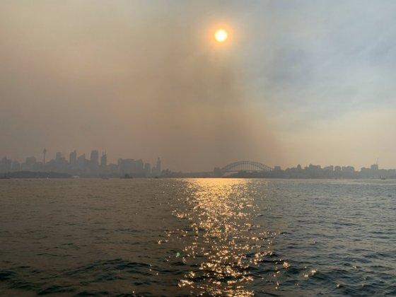 대형 화재의 연기로 뿌연 시드니 항구. / 사진 = 트위터 갈무리