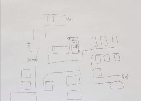 A씨가 그린 유흥업소 룸 구조 /사진=유튜브 가로세로연구소 캡처