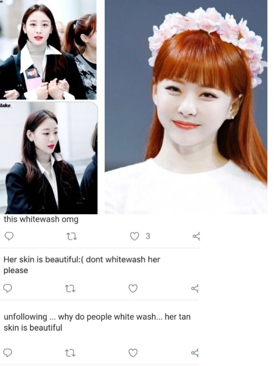 하얀 피부의 한국 아이돌 사진들에게'화이트워싱을 멈춰라'며 비아냥대는 외국 누리꾼들. / 사진 = 온라인 커뮤니티 갈무리