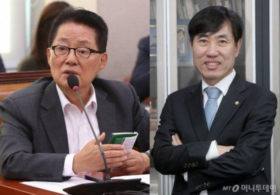 사진 왼쪽부터 박지원 대안신당 의원, 하태경 변혁 창당준비위원장/사진=홍봉진 기자, 강민석 인턴기자