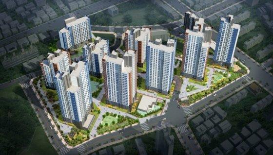 4개월만에 미분양 아파트 물량이 76.98% 급감한 인천에서 분양하는 '부평 두산위브 더파크' 조감도<br>