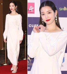 이유비, 우아한 드레스 자태…레드 립 '포인트'