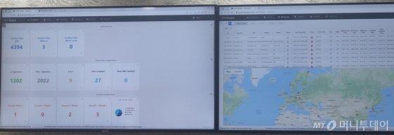 레이 본사 CS부서 사무실 벽면에 설치된 IoT 장비 현황 모니터/사진=김유경기자
