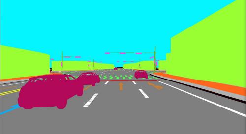 모라이의 자율주행차 시뮬레이션 플랫폼. 가상 카메라 및 라이다 출력 데이터.