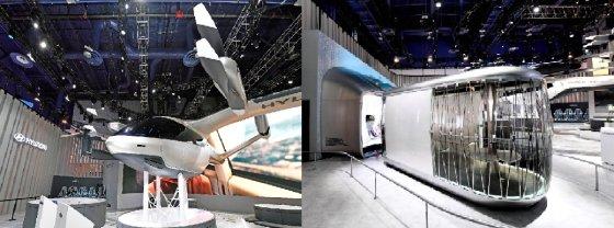 현대차자동가 발표한 개인용비행채(PAV) 콘셉트인 'S-A1(왼쪽)와 현대차의 목적 기반 모빌리티(PBV·Purpose Built Vehicle) 모습./사진제공=현대차