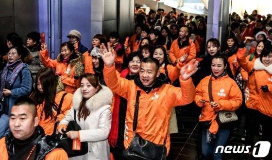 중국 건강웰빙식품·건강 보조기구 판매기업 '이융탕(溢涌堂)' 임직원 5000여명이 9일 오전 인천시 연수구 송도컨벤시아에서 열린 '이융탕 2020 한국연회'참석하고 있다. /사진=뉴스1