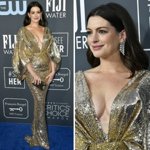 앤 해서웨이, 금빛 브이넥 드레스