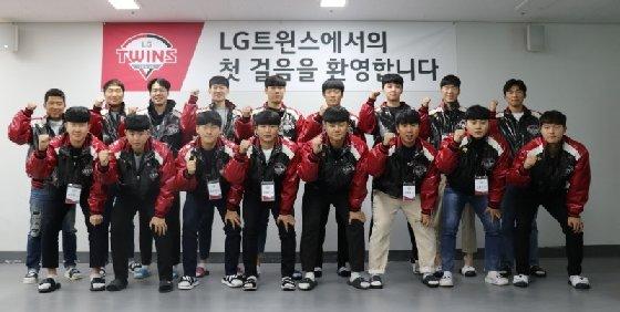2020시즌부터 새롭게 LG에 입단한 선수들. /사진=LG 트윈스 제공