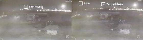 14일 뉴욕타임스(NYT)는 지난 8일 오전 이란 테헤란 이맘호메이니 국제공항 인근에서 이란 미사일 2발이 우크라이나 여객기를 타격하는 장면이 담긴 것으로 보이는 영상을 공개했다. /사진=NYT 영상 갈무리