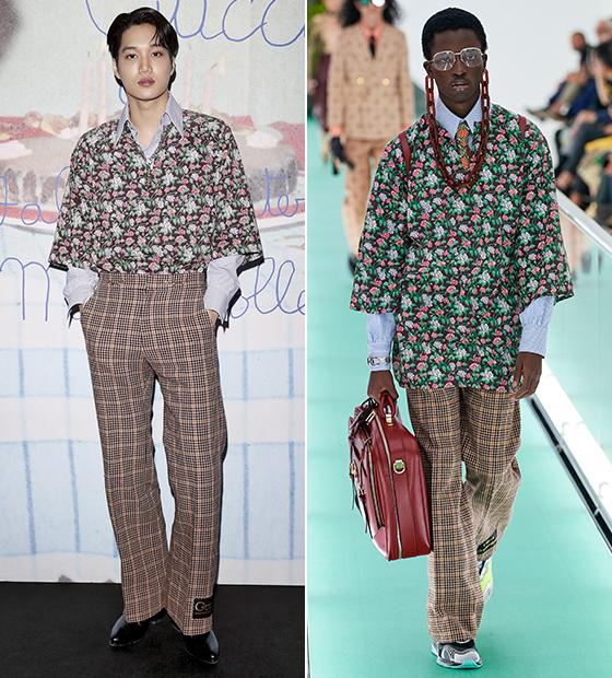 그룹 엑소 카이, 구찌 2020 봄 여름 컬렉션/사진=구찌(Gucci)