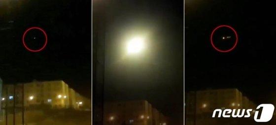 미국 일간 뉴욕타임스가 이란 수도 테헤란 인근에서 우크라이나 여객기가 미사일에 격추되는 장면으로 추정되는 영상을 지난 9일 공개했다. 영상에는 이란의 지대공미사일로 알려진 물체(사진 맨왼쪽 적색 원안)가 상공을 날아가다 기체와 충돌에 섬광(사진 가운데)이 나타나는 모습이 포착됐다. 피격된 여객기는 영상 왼쪽방향으로 방향을 틀어 몇 차례 깜빡이다 하늘에서 사라졌다. (뉴욕타임스 캡처) 2020.1.11/사진=뉴스1