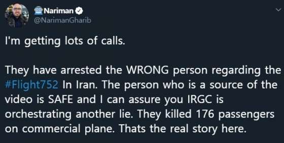 """지난 9일(현지시간) 우크라이나항공 여객기의 격추 동영상을 입수해 트위터에 공개했던 나리만 가리브의 트위터 글. 이란이 영상 찍은 사람을 체포했다는 소식에 """"촬영자는 안전하다""""고 반박했다."""