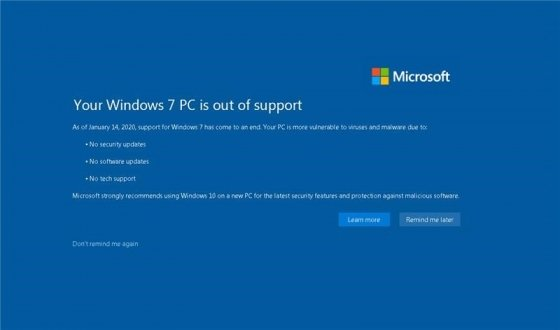 윈도7 기술 지원 종료에 따른 경고 화면. 윈도10 업그레이드를 권장하고 있다. /사진=MS