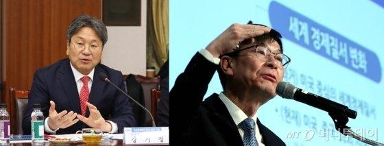 강기정 청와대 정무수석(사진 왼쪽), 김상조 청와대 정책실장. /사진제공=뉴스1