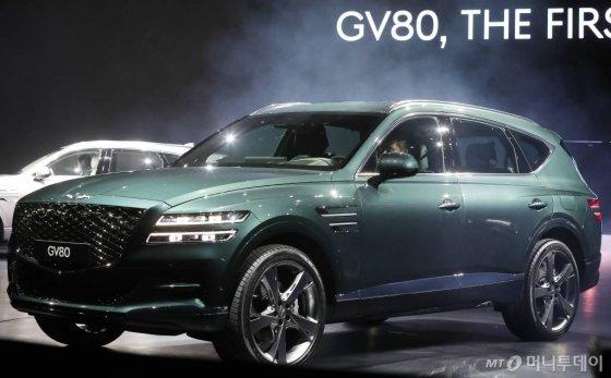 현대자동차그룹 고급 브랜드 제네시스가 15일 오전 경기 고양시 킨텍스에서 선보인 첫 SUV 'GV80'. /사진=김창현 기자