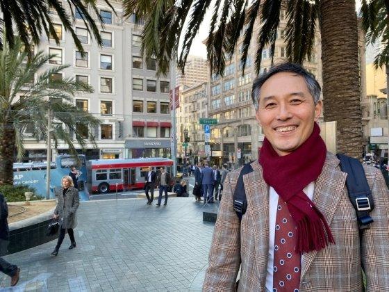 이정규 브릿지바이오 대표가 14일(현지시간) JP모건 헬스케어 콘퍼런스가 열린 미국 샌프란시스코에서 머니투데이와 인터뷰를 진행했다./사진=브릿지바이오테라퓨틱스 제공