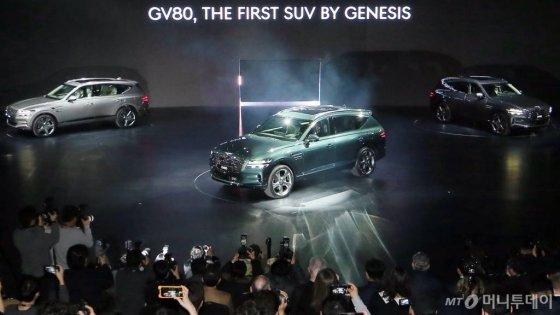 현대차그룹 제네시스 SUV 'GV80'이 지난 15일 경기 고양시 킨텍스에서 공개된 모습. /사진=김창현 기자