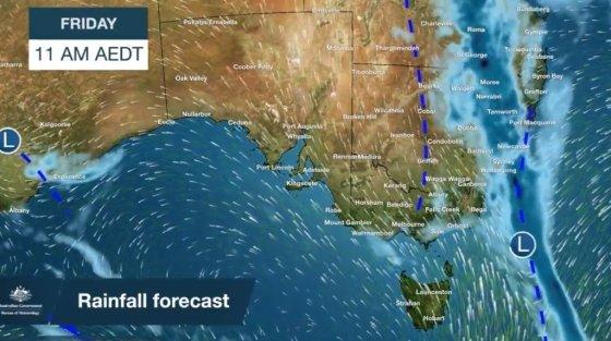 호주의 15일(현지 시간) 이후 예상기상도. /사진 = 호주기상청 트위터 갈무리