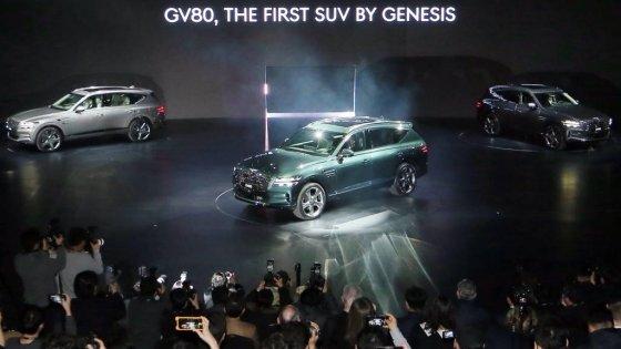 현대자동차그룹 고급 브랜드 제네시스가 지난 15일 오전 경기 고양시 킨텍스에서 'GV80' 출시 행사를 열고 있다. /사진=김창현 기자