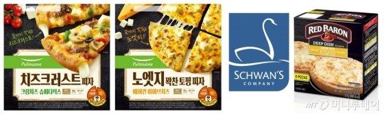 지난해 12월 풀무원은 피자 도우 끝부분까지 맛있게 먹을 수 잇는 '노엣지 피자'를 선보였고(왼쪽), CJ제일제당은 이달 슈완스 대표 브랜드인 'Red Baron(레드 바론)'을 국내 출시한다고 밝혔다.(오른쪽) /사진=풀무원, CJ제일제당