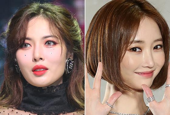 눈꼬리를 길게 연출한 가수 현아, 배우 고준희/사진=머니투데이 DB, 뉴스1