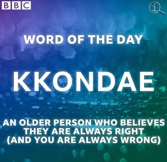 'BBC 오늘의 단어'에 선정된 '꼰대'/사진= BBC TWO 페이스북