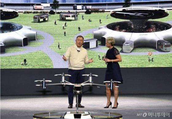 정의선 현대자동차그룹 수석부회장(왼쪽)이 세계 최대 IT·가전전시회 'CES 2020' 개막 하루 전인 지난 6일(현지시간) '현대차 프레스 컨퍼런스'가 열린 미국 라스베이거스 만달레이베이호텔에서 인간 중심의 미래 모빌리티 비전을 공개하고 있다. /사진제공=현대차