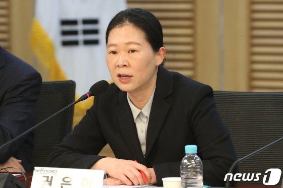 권은희 바른미래당 의원이 18일 오전 서울 여의도 국회 의원회관에서 열린 공처안 체계심사를 위한 전문가 간담회에서 모두발언을 하고 있다./사진=뉴스1