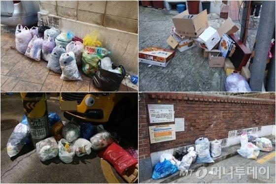 지난 24일부터 26일까지 서울시에서 쓰레기 배출이 일부 제한된 가운데 길거리에 쓰레기가 나와있는 모습./사진=한민선 기자