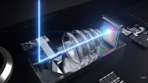 삼성전기에서 공개한 광학 5배줌을 구현한 폴디드줌 원리 설명 화면 /사진=삼성전기