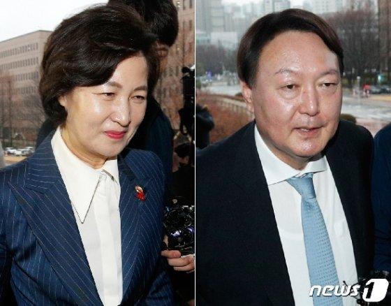 추미애 법무부 장관(왼쪽), 윤석열 검찰총장. 2020.1.7/뉴스1 © News1 안은나 기자