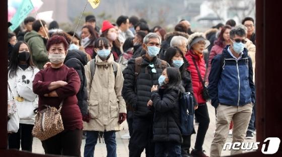 [사진] 마스크 착용하고 한옥마을 찾은 중국인 단체 관광객