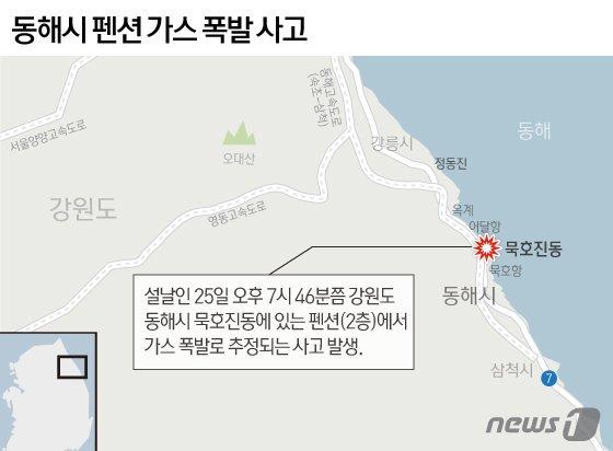 """동해 펜션서 가스폭발, 주민들 """"'펑' 하길래 불꽃놀이 하는 줄…"""""""