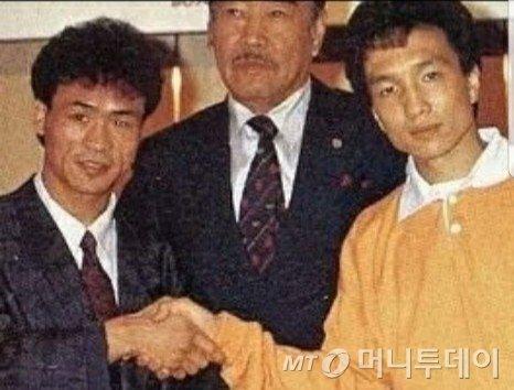 경기를 앞둔 장정구(왼쪽)과 오하시 히데유키(오른쪽) /사진=문용기 성북 피닉스 체육관 관장 제공