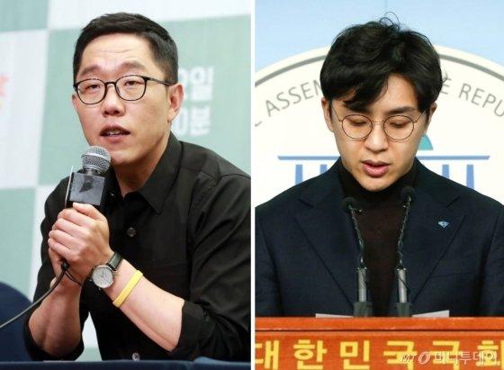 김제동(왼쪽)과 원종권(오른쪽).