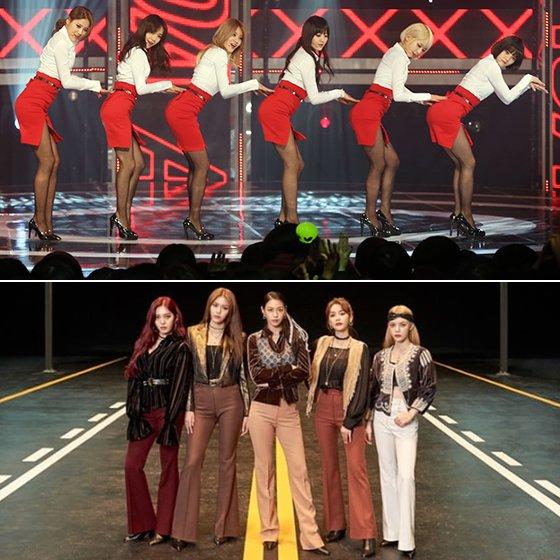 그룹 AOA가 '짧은 치마'로 활동하던 모습(위)과 신곡 '날 보러 와요' 티저 사진(아래)의 서로 다른 스타일./사진=머니투데이 DB, FNC 엔터테인먼트